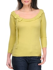 Lime Green Boat Neck With Bow Pullover - By