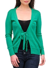 Green Open Cardigan With Front Knot - By