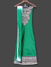 Green Embroidered Semi-stitched Cotton Suit Set - Manvaa