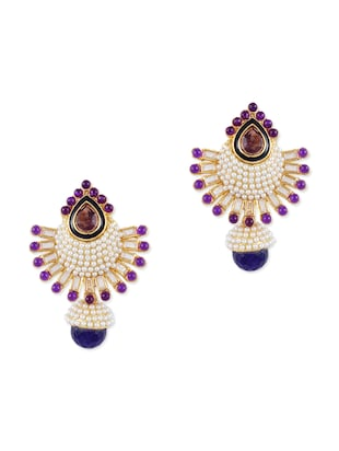 multicolored embellished drop earrings