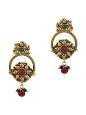 Gold Embellished Drop Earrings - By