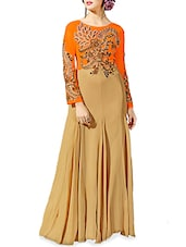 Beige And Orange Net Anarkali Embroidered Gown - By
