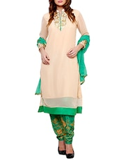 Beige And Green Georgette Unstitched Embroidered Suit Set - By