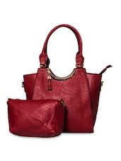 Maroon Leatherette Handbag With Sling Pouch - By