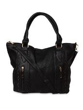 Solid Black Cutwork-detailed Leatherette Handbag - By