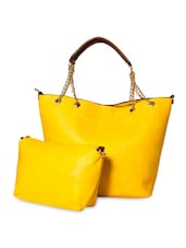 Yellow Leatherette Handbag With Sling Pouch - By