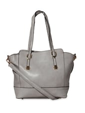 Grey Leatherette Handbag With Detachable Strap - By