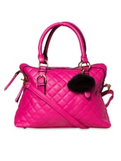 Solid Pink Quilted Leatherette Handbag - By