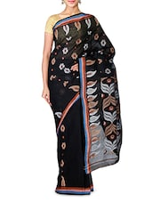 Black Handwoven Baluchari Tant Cotton Saree - By