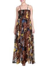 Multicolored Printed Strappy Maxi Dress - By