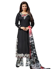 Black N Grey Embroidered Unstitched Suit Set - By