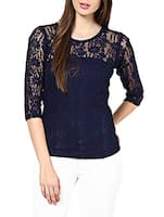 Navy Blue Half Sleeved Net Top -  online shopping for Tops