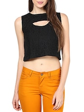 Black Net Cut-Out Crop Top - By