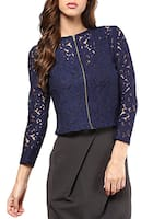 Navy Blue Net Zippered Crop Top -  online shopping for Tops