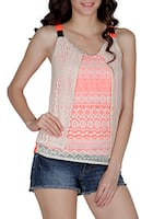 Coral And Cream Sleeveless Top -  online shopping for Tops