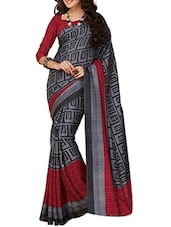 Grey And Black Bhagalpuri Silk Saree - By