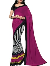 Pink And White Printed Chiffon Saree - By