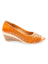 Orange Cutwork Faux Leather Peep Toe Wedges - By