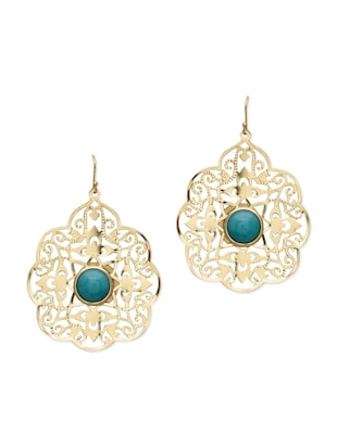 Gold floral cutwork earrings