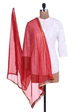 Red Shimmer Dupatta With Multicolored Border - By