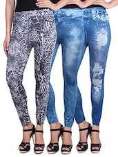 Set Of 3 Blue And Black Printed Washed Jeggings - By
