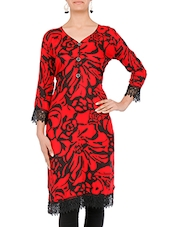 Red And Black Printed Rayon Kurta - By