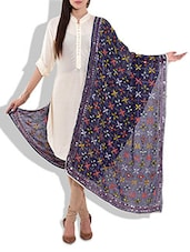 Royal Blue Georgette Phulkari Dupatta - By