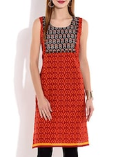 Red Sleeveless Printed Cotton Kurta - By