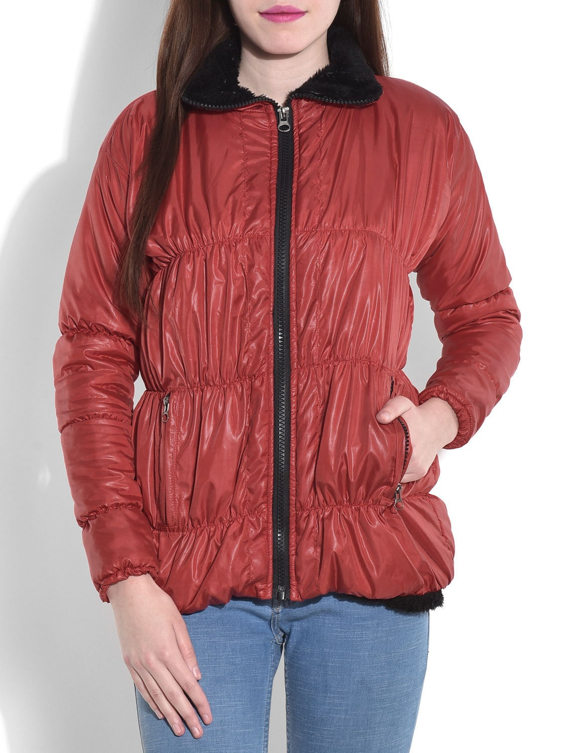 Solid Red Quilted Jacket - By