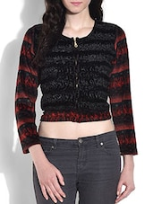 Red And Black Crop Woollen Top - By