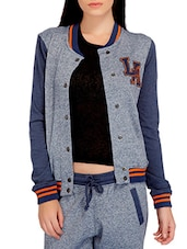 Grey N Stone Blue Jacket With Applique Details - By