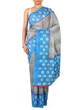 Grey And Sky Blue Multi-printed Art Silk Saree - By