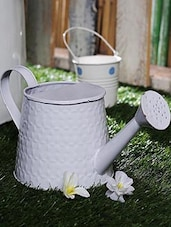 Watering Can Dotted White - By