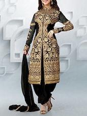 Black Color   Salwar, Kameez And Dupatta Dress Material - By