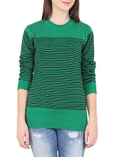 Green Striped Round Neck Cotton Sweater - By