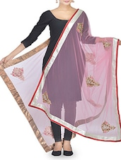 Pink Stone Embellished Net Dupatta - By