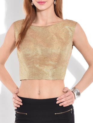 solid gold lurex crop top -  online shopping for Tops