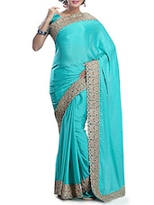 Blue Chiffon Saree With Border - By