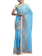 Sky Blue Embroidered Saree With Border - By