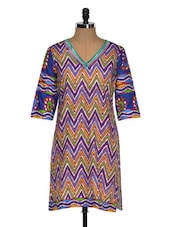 Chevron Print Kurta With A Hint Of Pruple - By