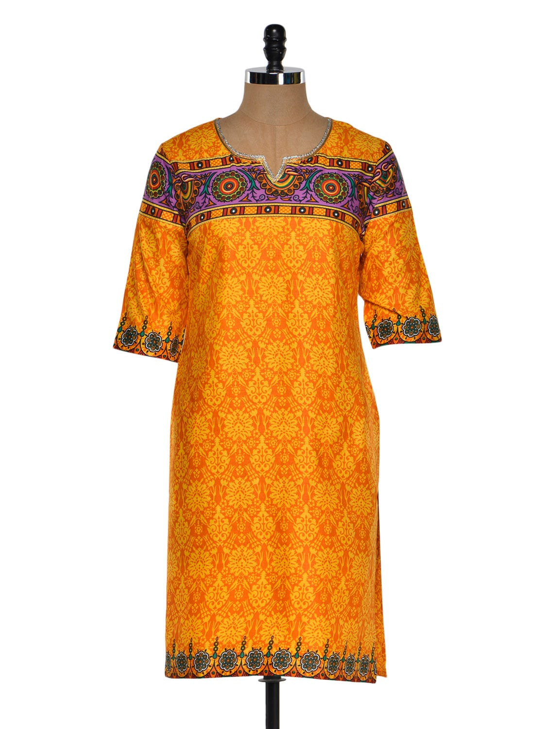 Multi Color Quarter Sleeve Geometric Print Kurta With A Hint Of Purple - Chitwan Mohan