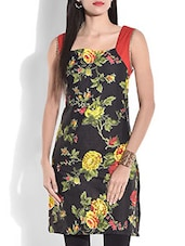Black Floral Printed Sleeveless Cotton Kurti - By