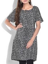 Grey Printed Short Sleeved Kurta - By