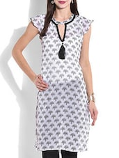 White Printed Short Sleeved Kurta - By