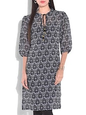 Black And White Printed Kurta With Dori Closure Neckline - By
