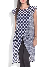 Blue And Off White Printed Short Sleeve Kurta - By