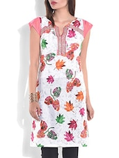 White Printed Short Sleeved Cotton Kurta - By