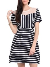 Navy Blue Striped Dress - Sweet Lemon