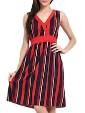 Red And Navy Blue Striped Dress - Sweet Lemon