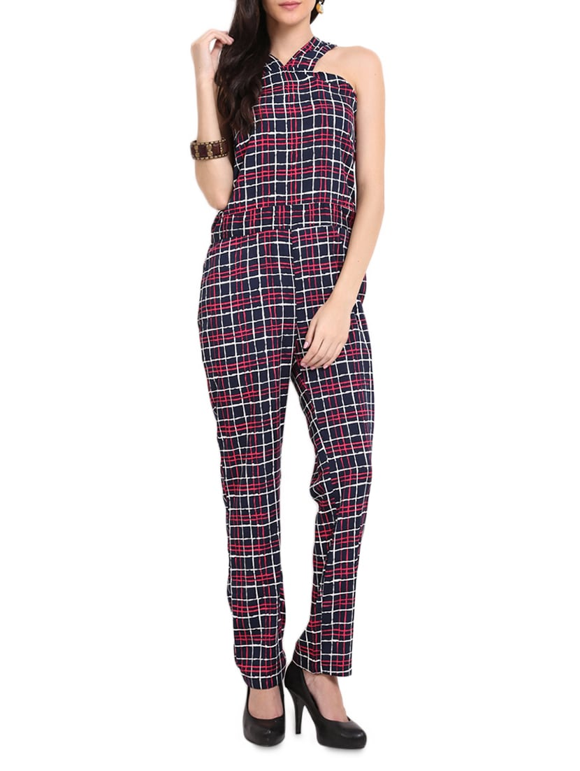 Blue And Pink Checked Jumpsuit - Sweet Lemon